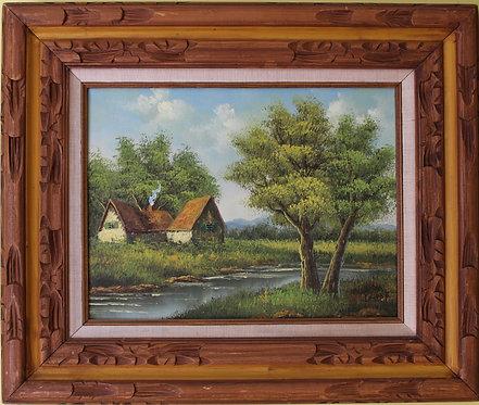 Original Vintage  oil painting on canvas landscape, signed Lester, framed
