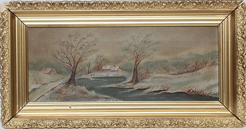 19 cent Original Antique Oil Painting On Canvas, Landscape, Framed, Unsigned