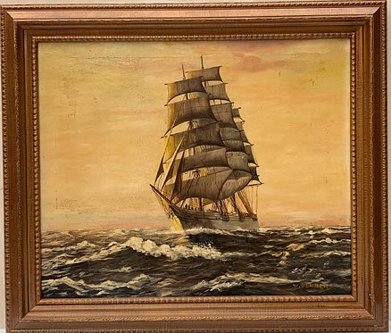 Behrens Antique Oil painting on canvas, seascape, Sailing Ship, Framed