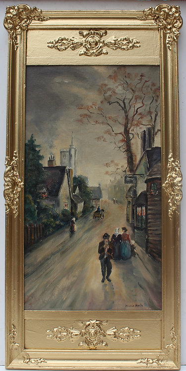 Vintage oil painting on canvas board, signed Mildred Keville, framed, dated