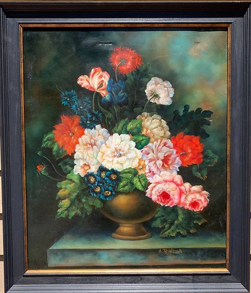 Oil Painting On Canvas, Still life, flowers, signed, Framed