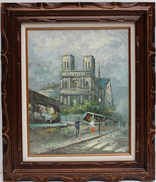 Listed Artist C.Burnett(IX-XX) oil painting on canvas Paris, Notre Dame, framed