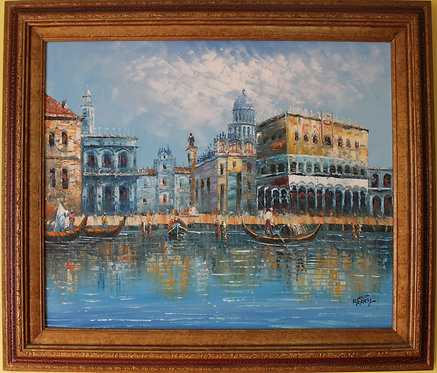 Original oil painting on canvas, Venice, Italy, signed D.Perry, framed