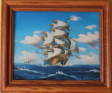 Original oil painting on canvas, seascape, Sailing ship,Signed, Framed