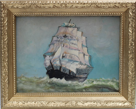 Antique Oil painting on board, seascape,Sailing Ship in the High Sea, Signed