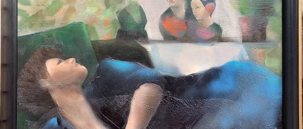 Mase Lucas Painting on Canvas, Portrait of a Nostalgic Woman on a Divan, 1987