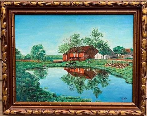 Vintage 1972 oil painting on canvas, Rural Landscape, cows, Signed, framed