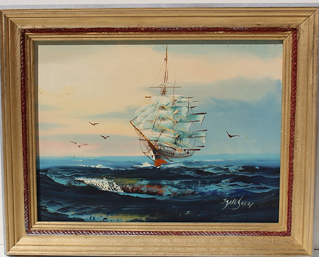 Listed Artist Hewett JACKSON (1914-2007) oil canvas painting, seascape, Sailboat
