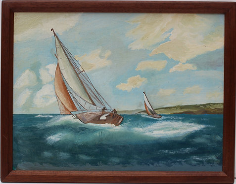Vintage oil painting on board, seascape,Sailing ships on the Sea Unsigned