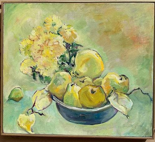 Vintage Still Life oil painting on canvas, Fruits, Signed, Framed