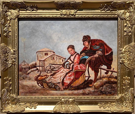 Vintage original Oil Painting on canvas, Genre scene, signed, dated, framed