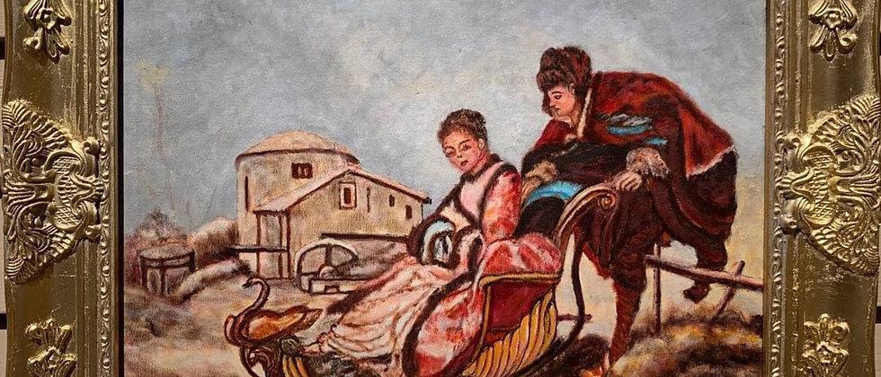 Vintage original Oil Painting on canvas, Genre scene, signed, dated, framed