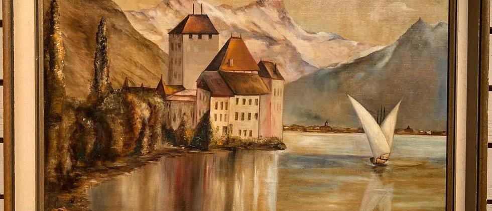 Large Vintage Oil painting on canvas, seascape, Harbor, Sailboat, Monogrammed