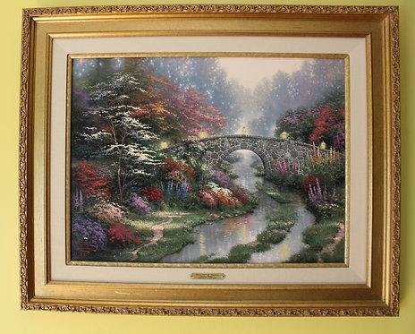 "Tomas Kinkade ""Stillwater Bridge"" Sweetheart Gardens I G/P Canvas,Limit. Edition"
