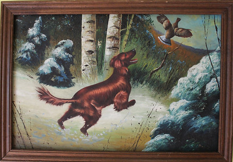 Antique Oil Painting on canvas, Hunting scene, Signed