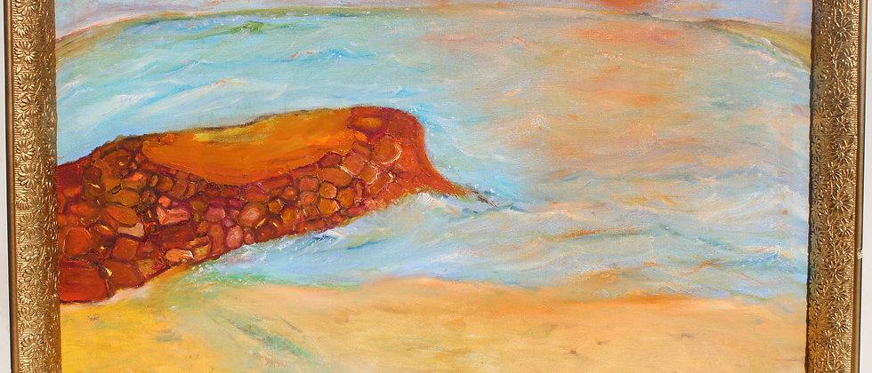 Original Large oil painting on canvas, seascape, Pier, signed Serg Graff, COA