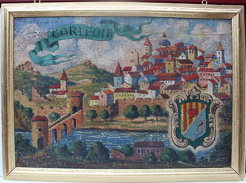 Large 1920s Antique oil on canvas (burlap), view of the Italian Corifoni Estate.
