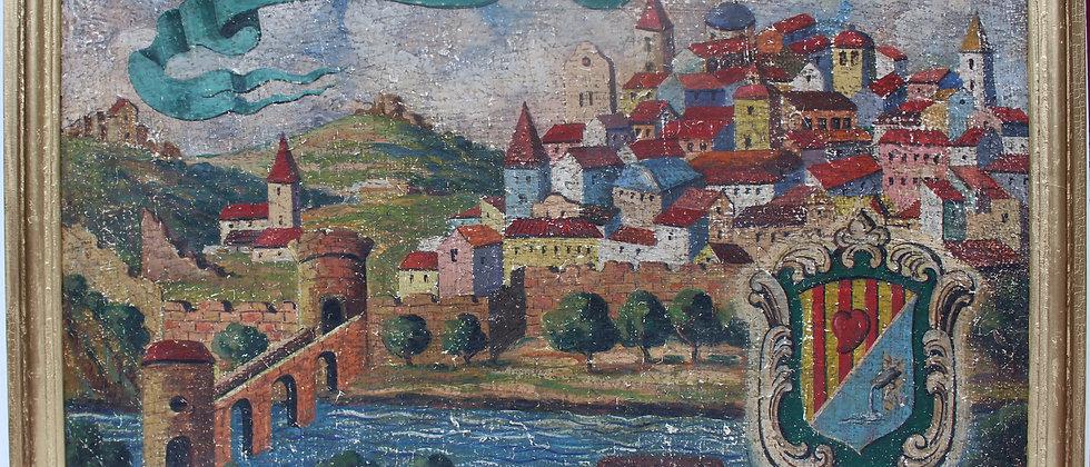 Large 1920s Antique oil on canvas (burlap), view of the Italian Corifoni Estate.