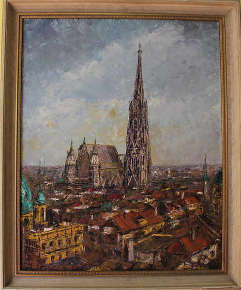 Original double side painted oil on a board, signed, dated,  cityscape