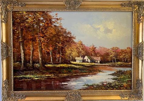 Large Vintage oil painting on canvas, Landscape, Signed, Gild Frame