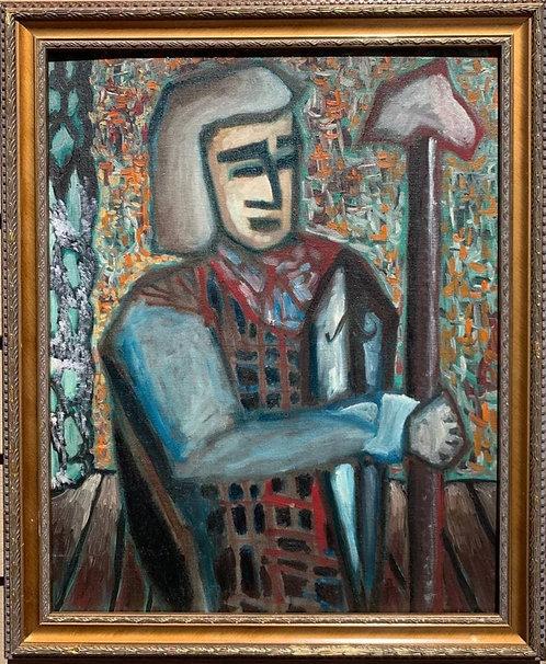 Meyer Kupferman (1926-2003) abstract portrait oil painting on board