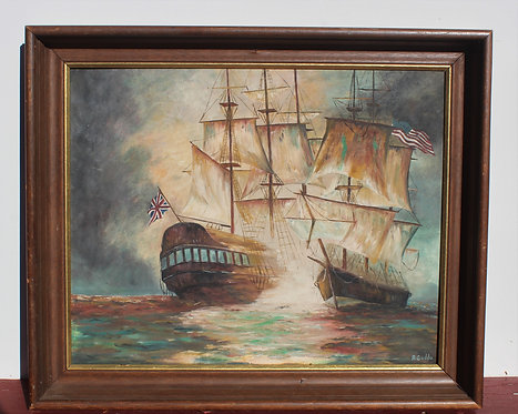 Antique Rare Original oil painting on canvas,battleships War of 1812,Signed