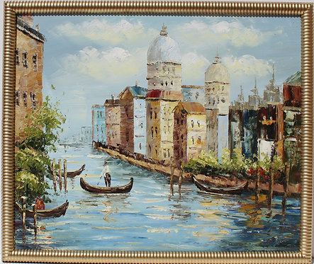 Vintage oil painting on canvas, Cityscape, Italy, Venetian canal scene, Framed