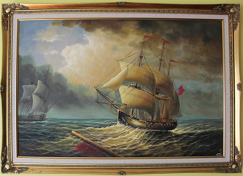 Large oil painting on canvas, seascape,Sailing ships on the ocean, framed