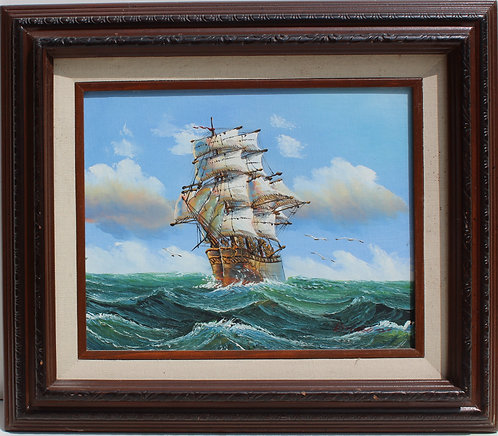 Oil painting on wood board, seascape,Sailing ships on the Sea, Signed, Framed