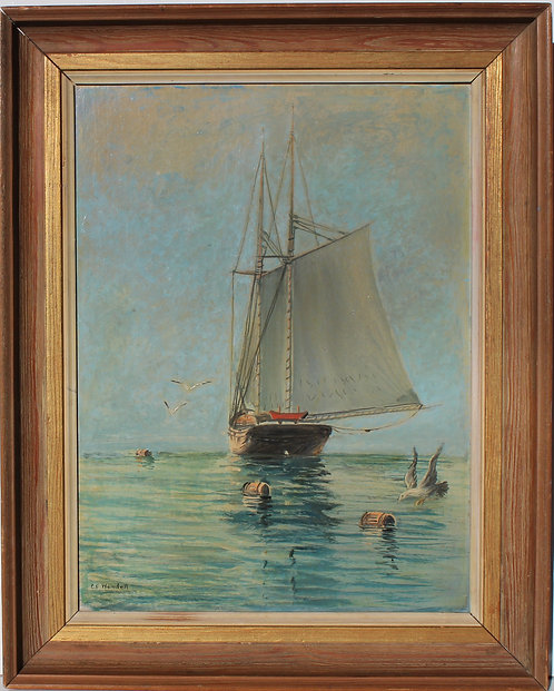 Vintage oil painting on wood, seascape, a lonely Sailboat at Sea Signed Wendell