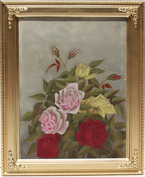 Antique 19 c. Original Oil Painting on canvas, Still Life, Roses, unsigned