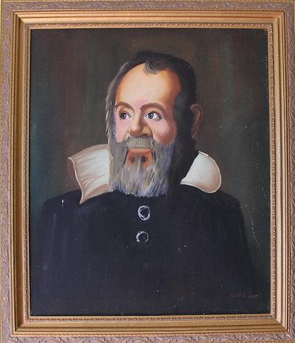 Vintage Original Oil Painting on Canvas, Portrait of Galileo Galilei Signed