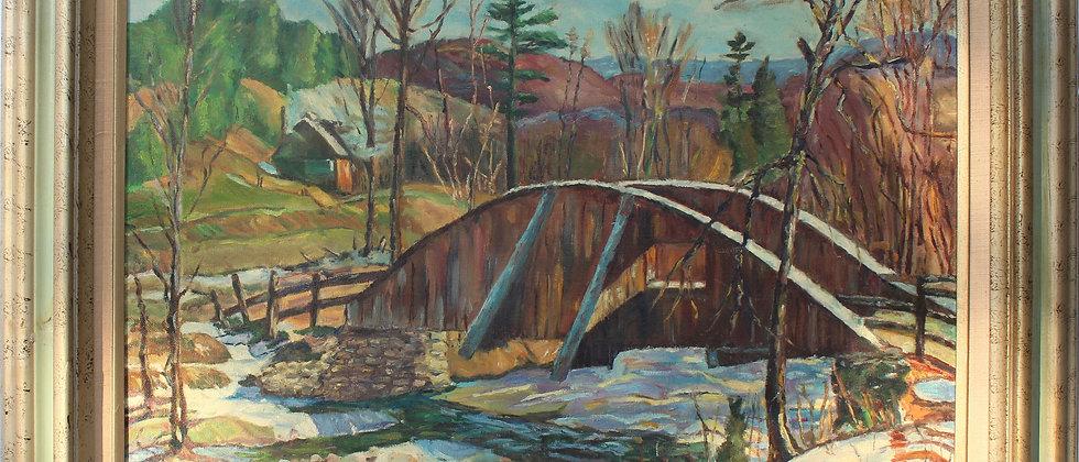 Vintage Original Oil Painting on canvas Landscape,Russian Artist Elkin , Framed