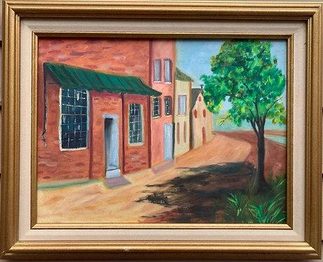 Vintage original oil painting on canvas, Street view, Signed F.Komros , framed
