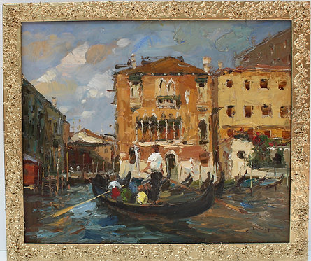 Original vintage oil painting on canvas, Venice, Italy, signed Delia, framed