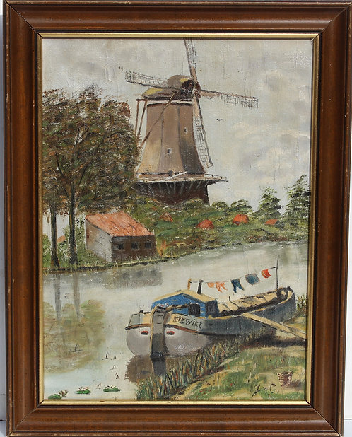 Antique Oil Painting on Canvas, Landscape, Windmill Overlooking Dutch Canal