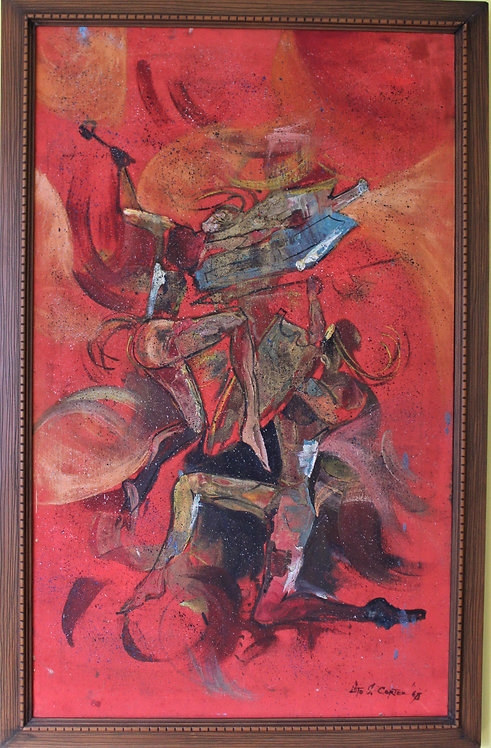 Original Oil painting on canvas, signed Lito J.Cortez, abstract, battle scene