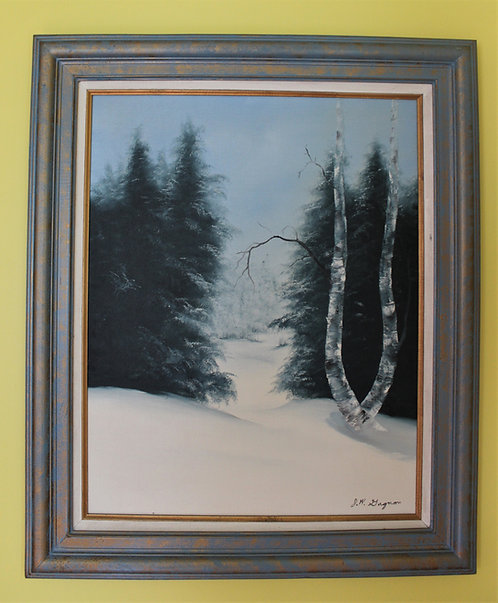 Large Original Framed Oil Painting on canvas Landscape, Winter,  Signed Gagnon