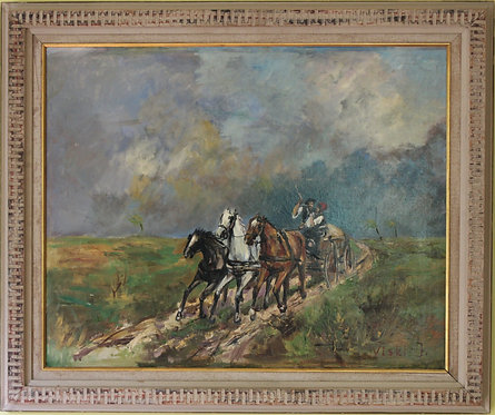 Listed Artist Janos Viski (1891-1987) oil on canvas, Horses, Signed, Framed