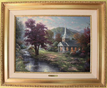 "T.Kinkade hand-highlighted ""Streams of Living Water""S/N Canvas, Limited,rare,COA"