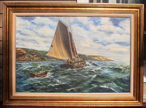 Large oil painting on canvas, seascape,Sailing boats, Signed Russian Artist