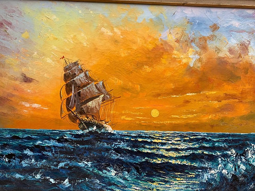 Large oil painting on canvas, seascape, Sailing ship on the ocean at sunset