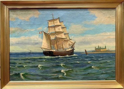 Danish Large Antique oil painting on canvas, Seascape, Sailing ship, signed
