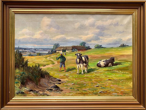 Danish Artist, Vintage oil painting on canvas, Landscape, Farmyard Scene, cows