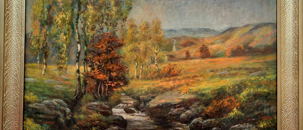 Vintage/Antique Oil Painting on Canvas, Autumn Landscape, Framed, Unsigned