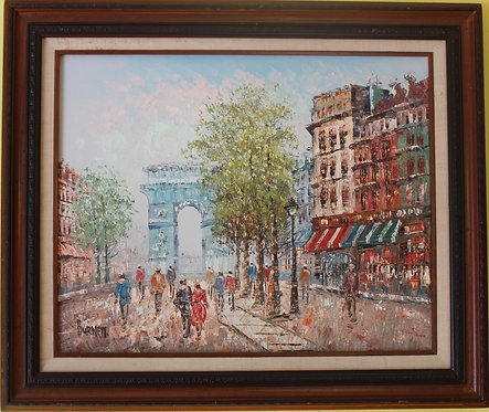Listed Artist C.Burnett(IX-XX) oil painting on canvas Paris, Triumphal Arch