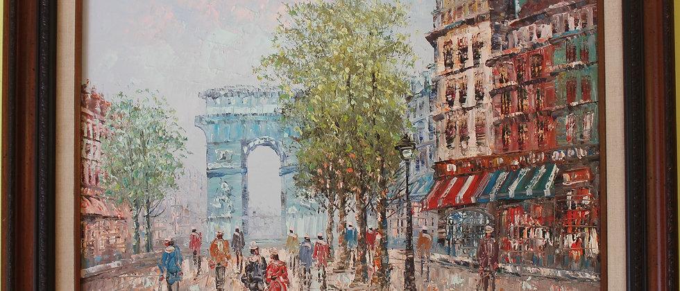 Listed Artist C.Burnett(IX-XX) oil painting on canvas Paris, Triumphal Arch