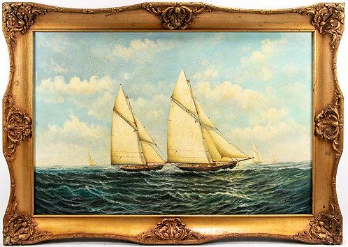 Large decorative painting on canvas, seascape,Sailing ships, gilt frame, signed