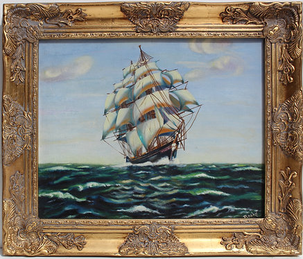 Vintage 1963 Oil painting on canvas panel, seascape, Sailing Ship ,Signed framed