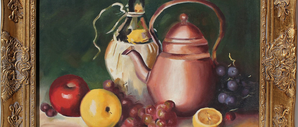 Vintage Still Life oil painting on canvas, Fruits, Signed Jean Daniloff, Framed